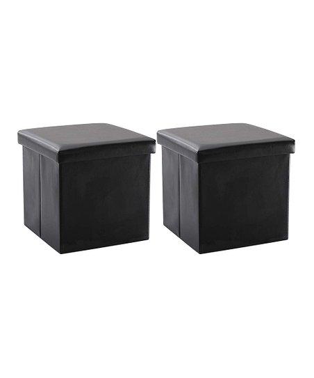 Tremendous Marcal Black Square Storage Ottoman Set Of Two Unemploymentrelief Wooden Chair Designs For Living Room Unemploymentrelieforg