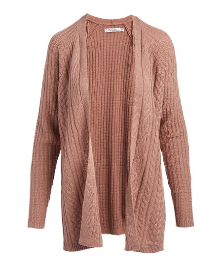 00eef733240 love this product Rust Heather Cable Open Cardigan - Women