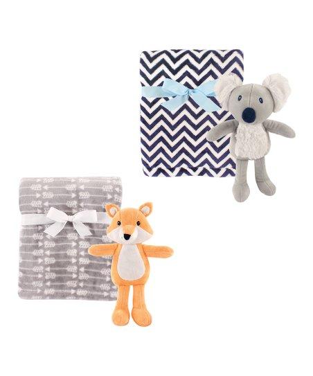 Hudson Baby Gray Plush Blanket Fox Koala Plush Animal Toy Set Zulily
