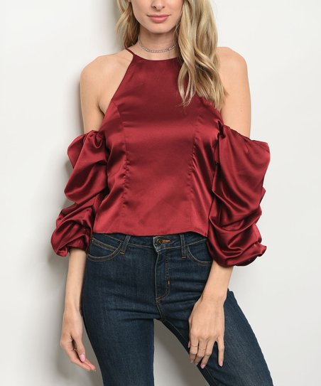 b694ec0427700f love this product Burgundy Open-Shoulder Ruffle-Sleeve Top - Women