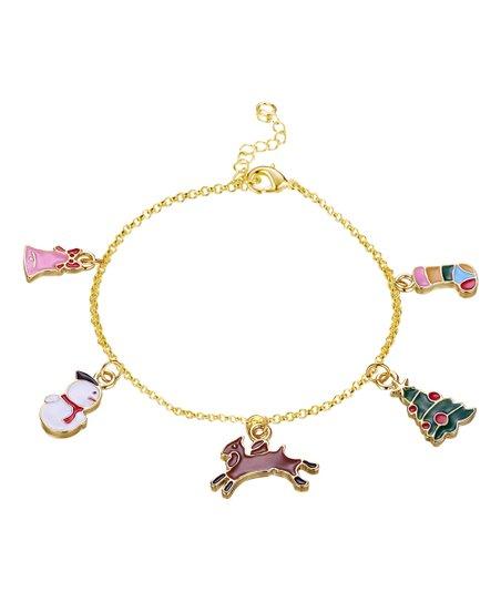 c5dda377acd Riakoob 18k Gold-Plated Festive Charm Bracelet   Zulily