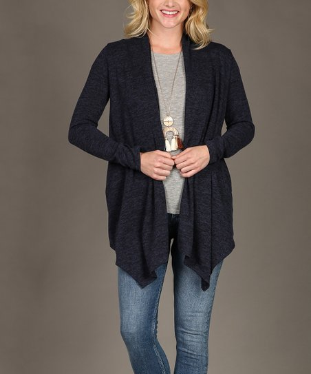 love this product Navy Heather Pocket Drape Open Cardigan - Women
