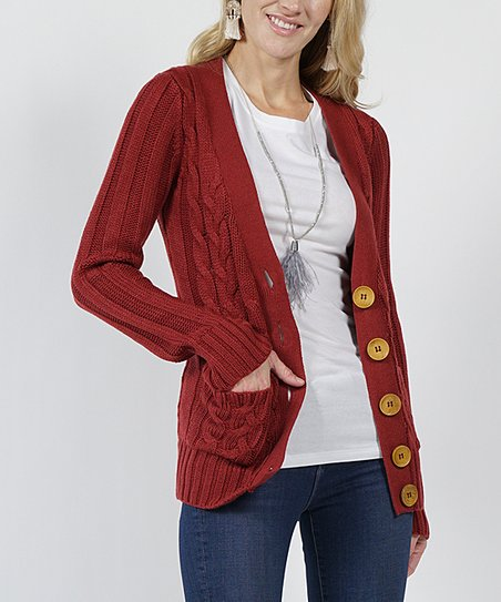 b722207466c love this product Rust Cable-Knit Large-Button Cardigan - Women