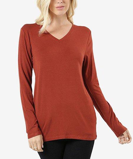 9109697ce love this product Dark Rust Long-Sleeve V-Neck Tee - Women