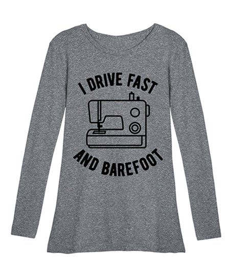 e9937dcaf4232 Instant Message Womens Athletic Heather I Drive Fast Long-Sleeve Tee ...