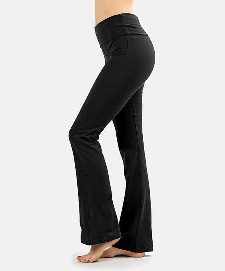 Zenana Black Fold Over Yoga Pants Women Zulily