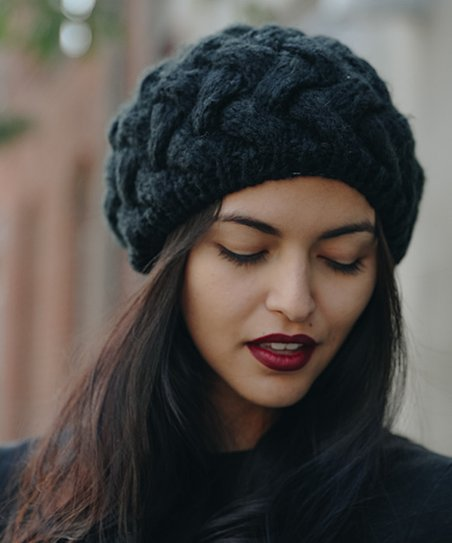 love this product Black Cable-Knit Beret - Women f504ee6292d