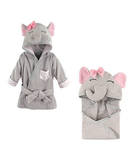 9a509e9c9 Hudson Baby Pretty Elephant Bath Robe & Hooded Towel - Newborn | Zulily