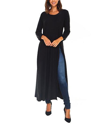 43deac1d A La Tzarina Black Side-Slit Long Tunic | Zulily