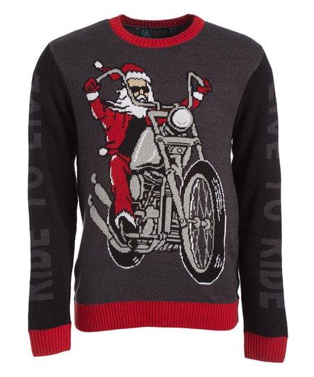 Ugly Christmas Sweater Black Biker Santa Sweater Zulily