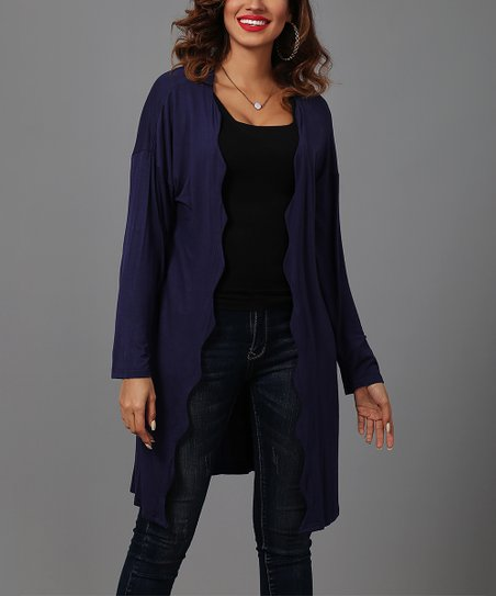 d8ae28a09a Reborn Collection Navy Scallop-Edge Cardigan - Plus