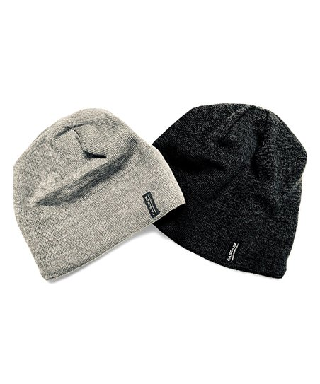 Cascade Mountain Tech Black   Gray Wool Beanie Set  5800f795fdb