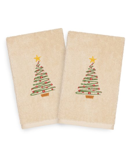Linum Home Textiles Sand Christmas Tree Turkish Cotton Hand Towel - Set of  Two