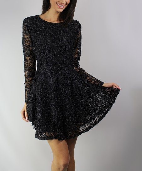 7740226a44 love this product Black Lace-Overlay Fit   Flare Dress - Women