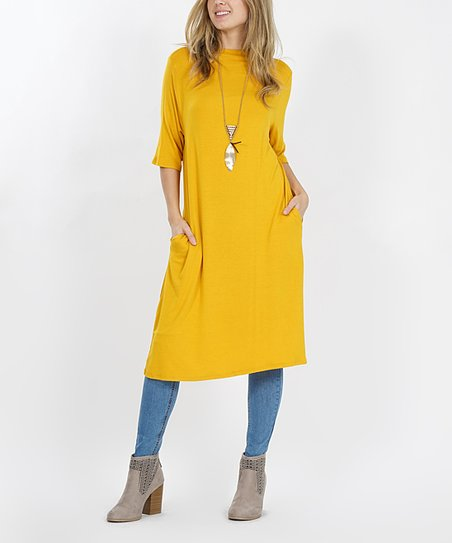 8120f3b9a332 love this product Dark Mustard Pocket Mock Neck Tunic Dress - Women