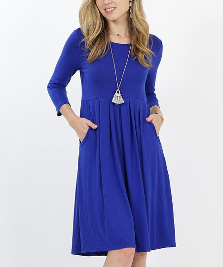 a1f46dbd683 love this product Denim Blue Three-Quarter Sleeve Peated Two-Pocket Tunic  Dress - Women