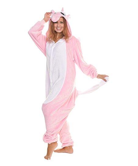 e53b568ee Angelina Pink Unicorn Fleece Hooded One-Piece Pajamas - Women