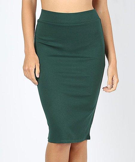 1309e03fa love this product Hunter Green Ponte Pencil Skirt - Women