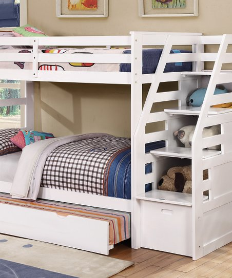 Bella Esprit White Twin Over Twin Bunk Bed With Stair Storage Zulily