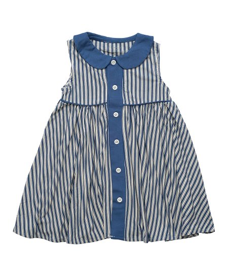 a498aca953fb Sweet Bamboo Blue Nautical Stripe Collared Swing Dress - Infant ...