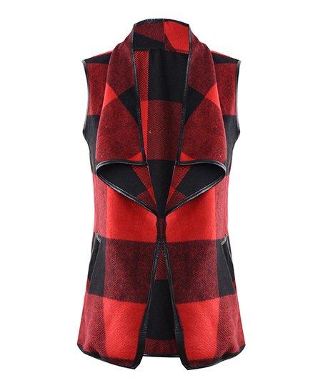 9e6c5cd1b70 love this product Red   Black Buffalo Check Sleeveless Vest - Women