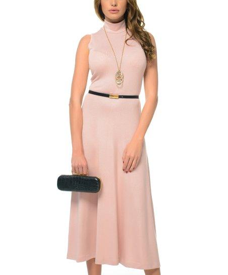 c06c70610322 Genevie Beige   Pink Turtleneck Midi Dress - Women