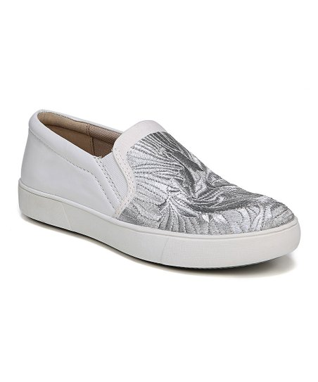 f2bc381b900d love this product White   Silver Embroidered Marianne Leather Sneaker -  Women