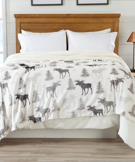Home Fashion Designs Moose Faux Sherpa Velvet Reversible Blanket Zulily