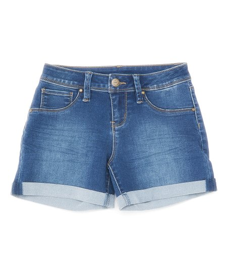 c03d7a7fca YMI Jeans Dark Blue Cuffed Denim Shorts - Girls   Zulily