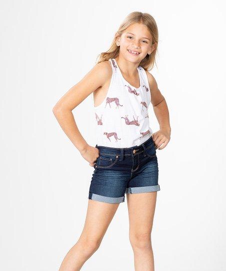17f403c6d9 YMI Jeans Dark Blue Denim Cuffed Shorts - Girls   Zulily