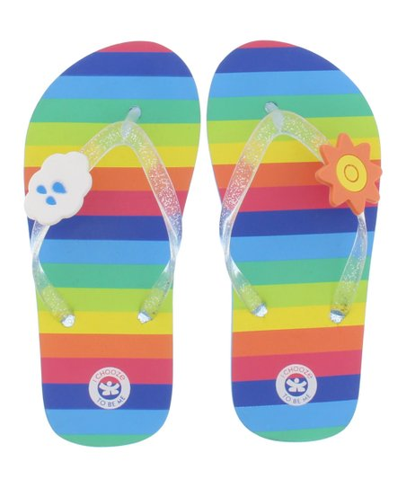 342a5e2ca love this product Blue   Multicolor Stripe Lucky Flip-Flop - Girls