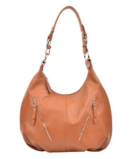6018a93e42 Luisa Vannini Cognac Double-Zip Leather Hobo