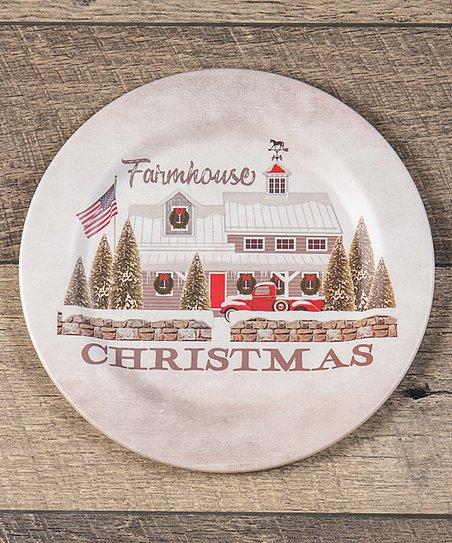Christmas Plate Set.Ragon House Cream American Farmhouse Christmas Plate Set Of Four