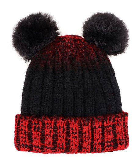 love this product Red   Black Ombré Fuzzy Double Pom-Pom Beanie 9162e74d824
