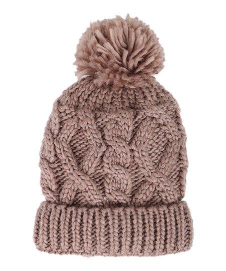 bf0b20212c0 ARCTIC PAW Khaki Pom-Pom Cable-Knit Beanie