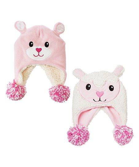 84748fae Pink Teddy Bear & Lamb Reversible Fleece Earflap Beanie
