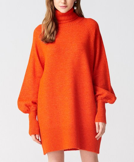 9d54b6e487c love this product Orange Turtleneck Sweater Dress - Women