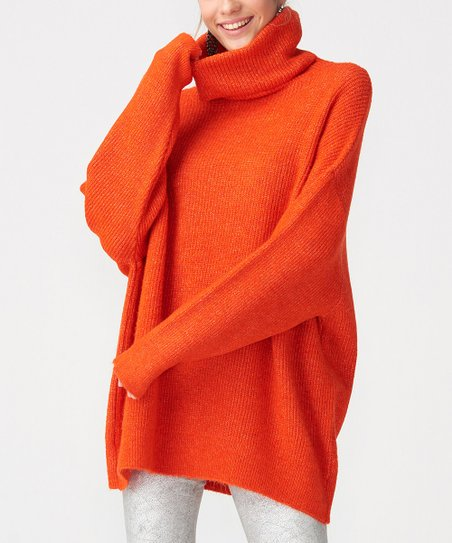 Dilvin Orange Cowl Neck Sweater Women Zulily