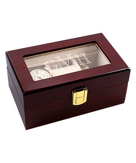 Monogram Online Red Monogram Three Slot Wood Watch Case