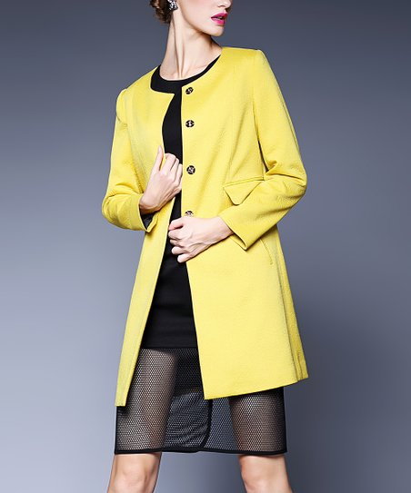 volume large new authentic best collection Gyalwana Yellow Peacoat - Women | Zulily