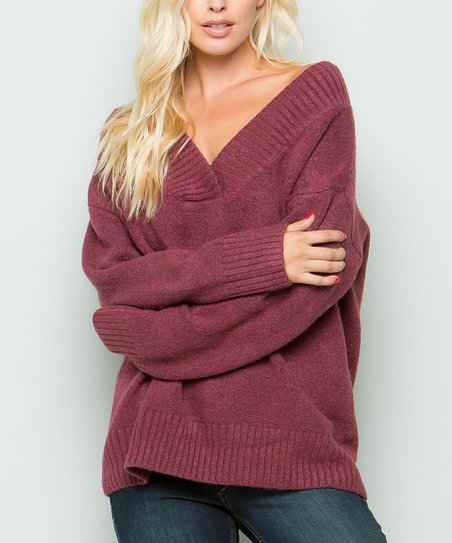 6c8511301c Cherry On Boutique Burgundy V-Neck Sweater - Women