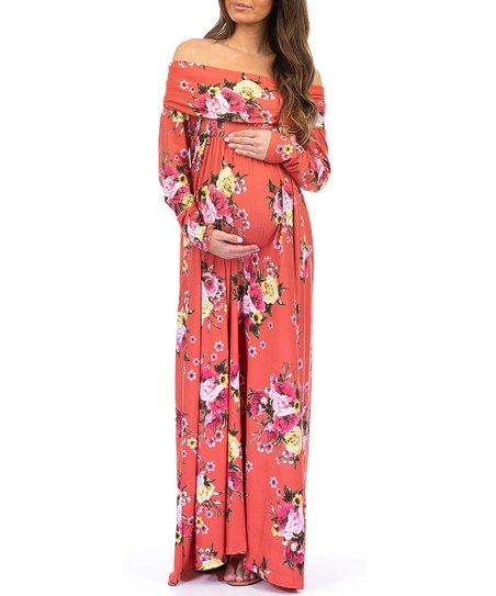 2dbc4321f2 Mother Bee Maternity Rust Floral Off-Shoulder Maternity Maxi Dress ...