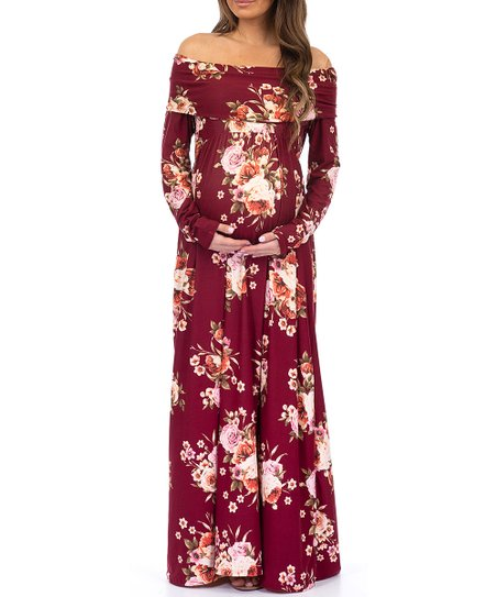 8e92f87be7c Mother Bee Maternity Burgundy Floral Off-Shoulder Maternity Maxi ...