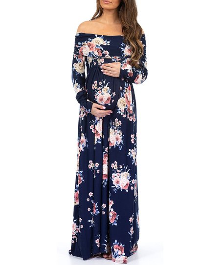 a78d69ac2ede Mother Bee Maternity Navy Floral Off-Shoulder Maternity Maxi Dress ...