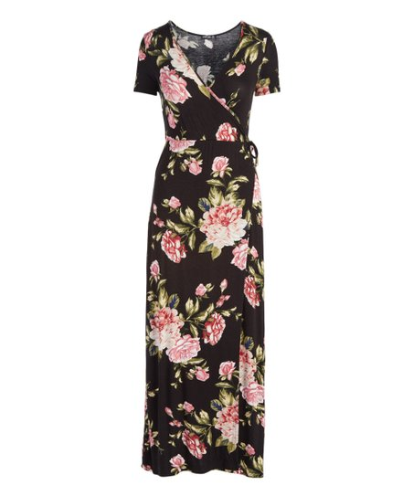 POPULAR BASICS Black Floral Wrap Maxi Dress - Women  ebf035941