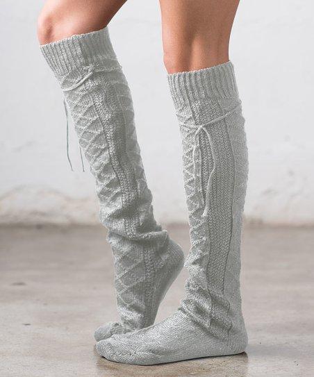 83f639d71f2 Ailis Corner Gray Lattice-Knit Tie Knee-High Socks