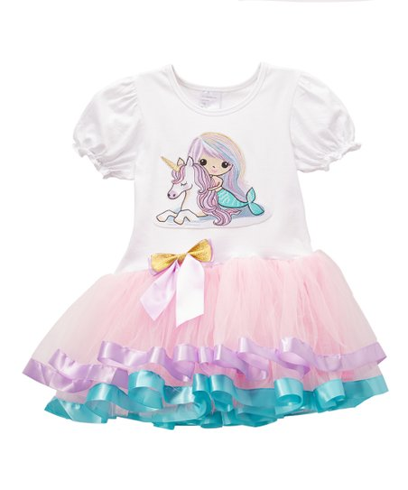 e2ef1a7a58d4 love this product Light Pink & White Mermaid Unicorn Empire-Waist Dress -  Infant, Toddler & Girls