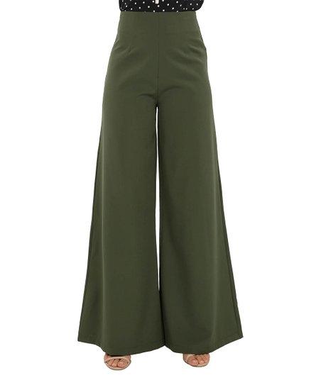 CQbyCQ Dark Olive Wide-Leg Flare Pants - Women  95e351860540