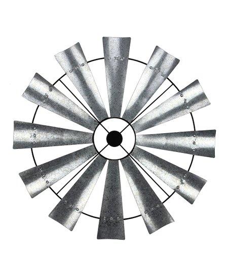 Silver Windmill Metal Wall Art