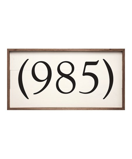 Kendrick Home White Parenthesis Area Code Personalized Wall Sign
